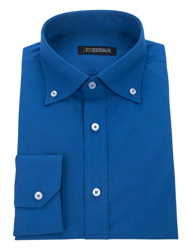 Ciemno niebieska koszula męska szyta na miarę 80% bawełna  uZdKk