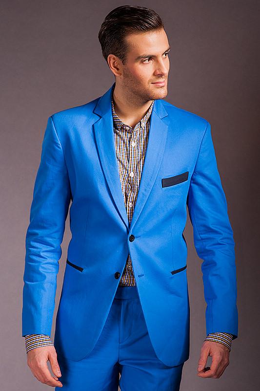 0c934cc9a45f1 Niebieski garnitur męski który uszyjemy specjalnie dla Ciebie ! Online !