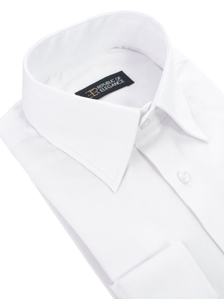Biała koszula do muchy na spinki męska szyta na miarę 100
